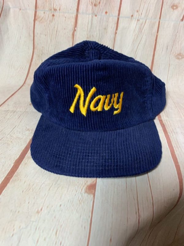 VINTAGE CORDUROY HAT NAVY ADJUSTABLE BACK