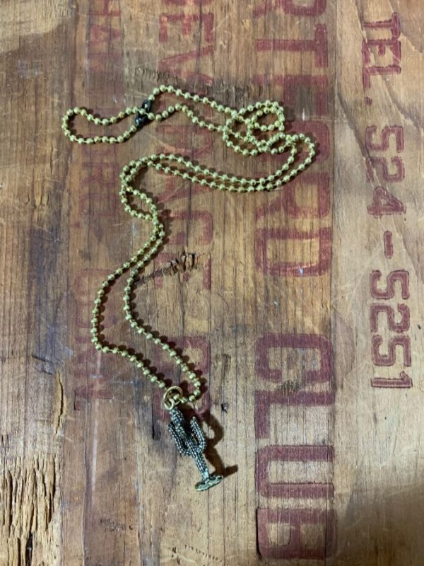 SOLID BRASS CACTUS CHARM NECKLACE W/ BALL CHAIN