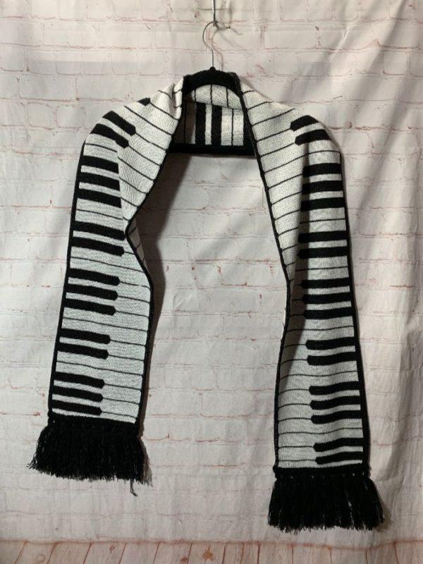 THE ORIGINAL PIANO KEY DESIGN SCARF W/ FRINGE ON ENDS
