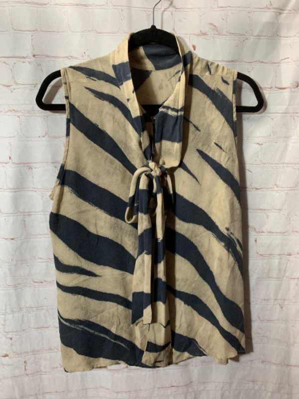 product details: SILK SLEEVELESS  ZEBRA STRIPED BLOUSE W/ TIE COLLAR photo