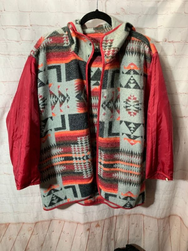 NAVAJO PATTERN HOODED WOOL JACKET LINER W/ NYLON SLEEVES