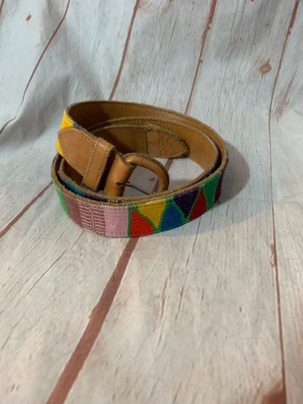 ETHNIC WOVEN KNIT BELT W/ LEATHER ON BOTH ENDS & SUPER SOFT