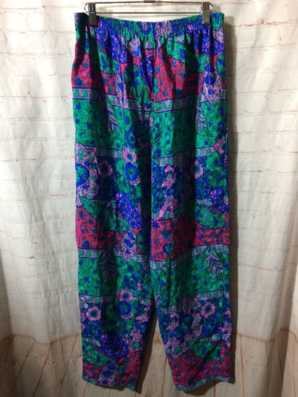 1980'S BOLD COLORED FLORAL PATTERN SILKY JOGGER PANTS