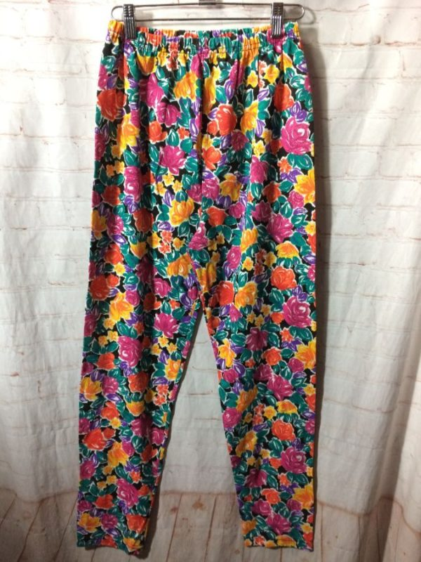 product details: BRIGHT FLORAL PATTERNED JOGGER PANTS W/ ELASTIC WAIST photo