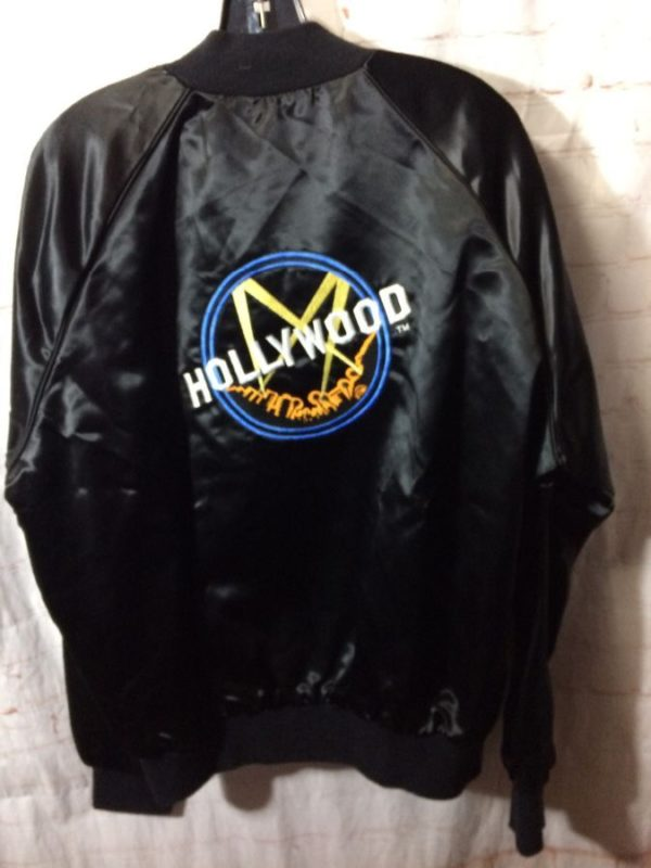1980'S ACETATE SPORTS JACKET W/ EMBROIDERED FULL BACK HOLLYWOOD LOGO