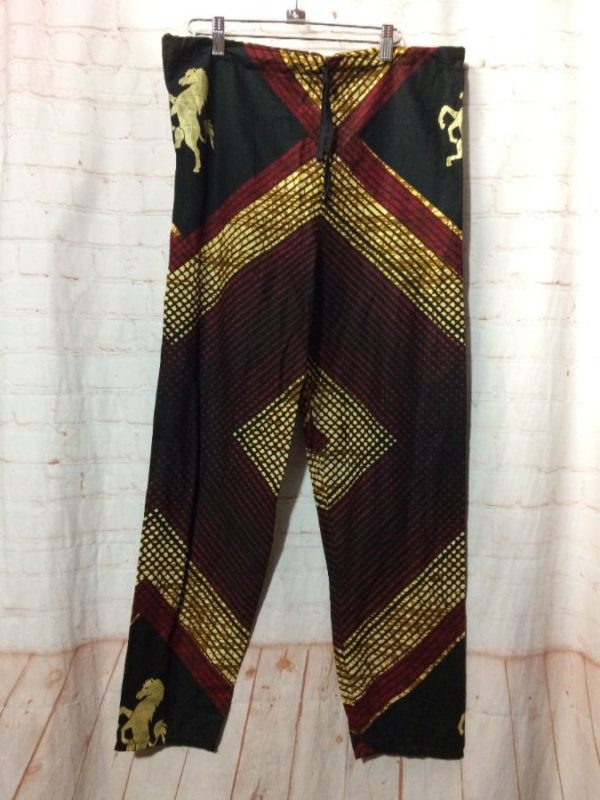 product details: COTTON PANTS W/ DRAWSTRING WAIST & ETHNIC HORSE PATTERN photo