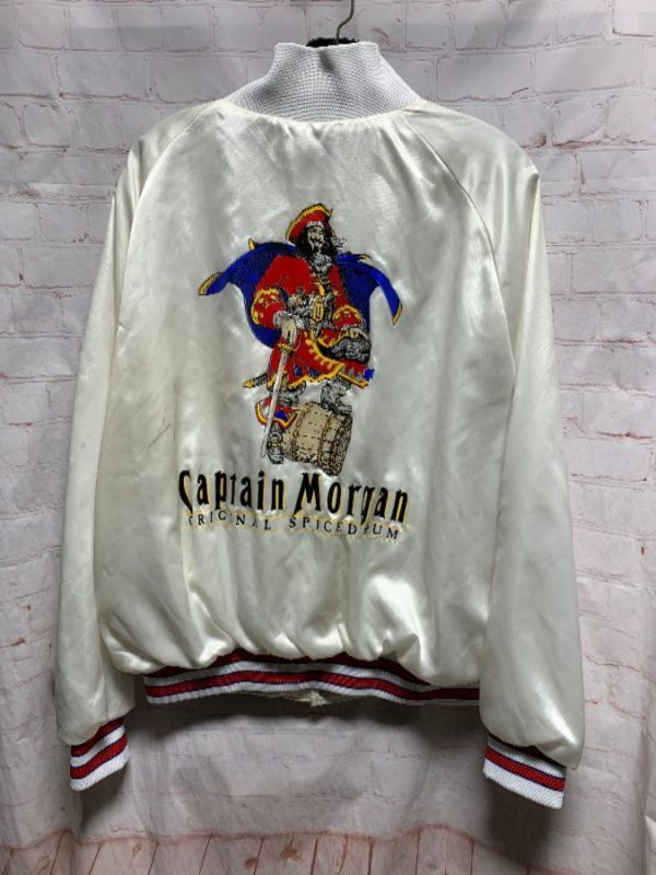 RETRO SATIN JACKET CAPTAIN MORGANS W/ STRIPED COLLAR & CUFFS