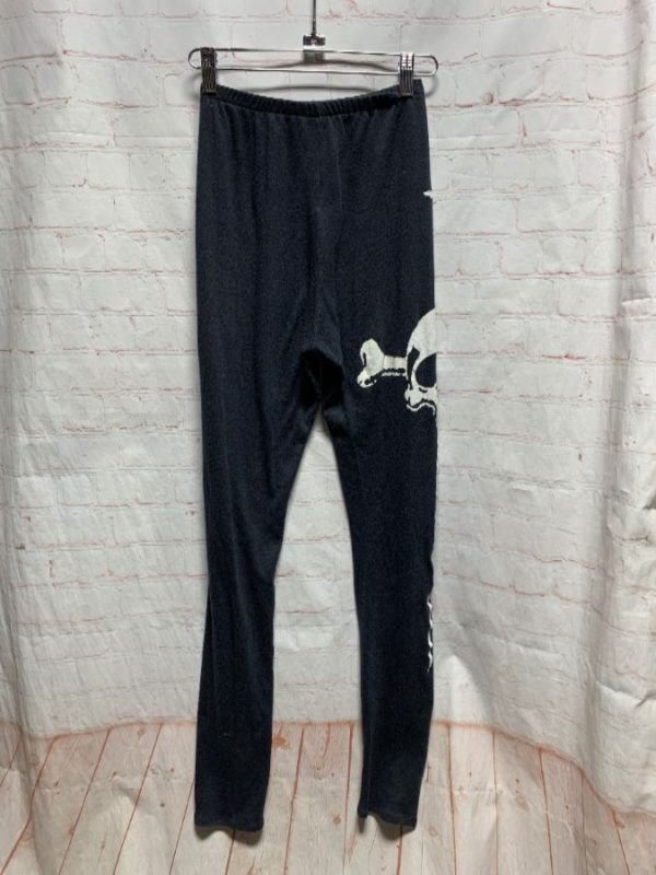 1990′ S LIP SERVICE COTTON LEGGINGS W/PRINTED SIDE SKULL & DAGGER DESIGN