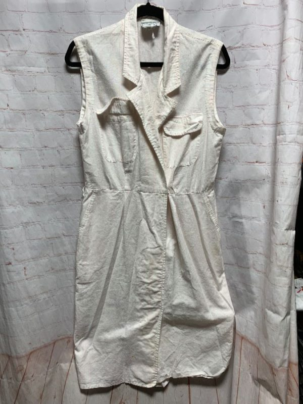 product details: 1980'S COTTON DRESS W/ VERTICAL PINSTRIPES photo