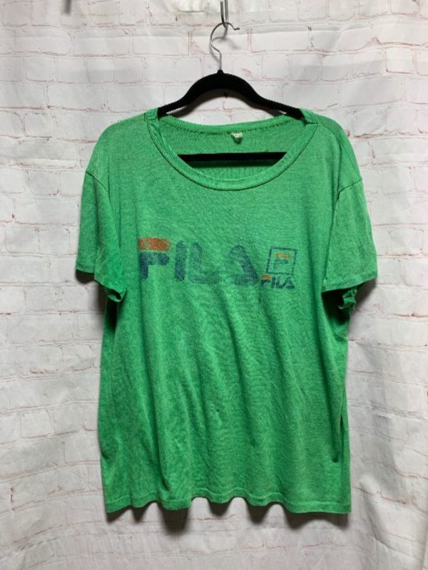 FILA SHEER T-SHIRT PAPER THIN SUPER RETRO TATTERED & DISTRESSED