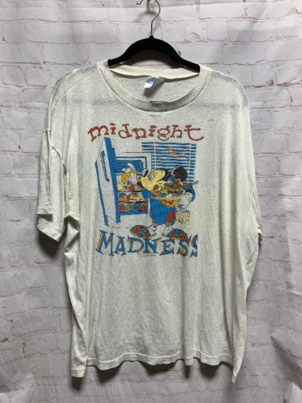 MICKEY MOUSE MIDNIGHT MADNESS T-SHIRT BOX FIT PAPER THIN & TATTERED