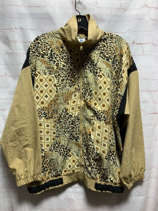 SILKY WINDBREAKER JACKET W/ SNAKE & LEOPARD PRINTS