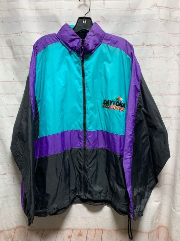 1990S NYLON COLOR BLOCK JACKET INDY 500 EMBROIDERED LOGO #FIRE as-is
