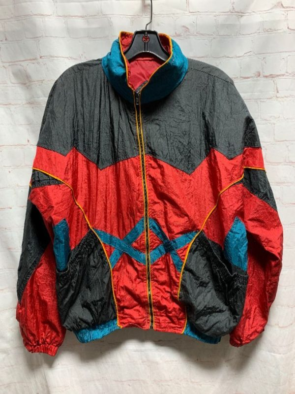 NYLON WINDBREAKER JACKET COLOR-BLOCK DESIGN