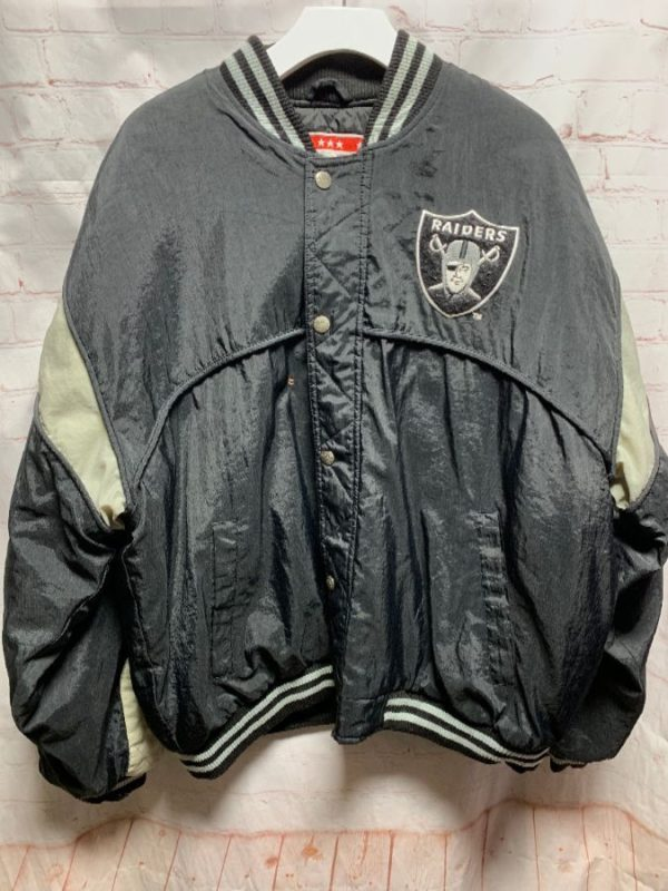 RAIDERS BOMBER JACKET NYLON A & STAR PATCH BURN MARK- AS IS