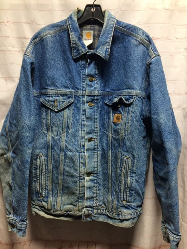 DENIM JACKET W/ PLAID FLANNEL LINING & DISTRESSED COLLAR/SLEEVES
