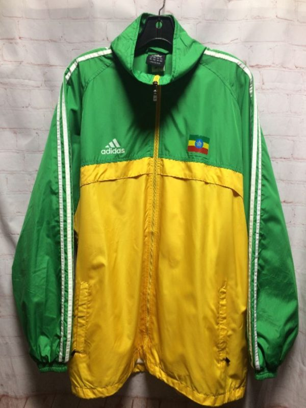 ADIDAS WINDBREAKER ETHOPIA FLAG COLOR BLOCK SOCCER JACKET