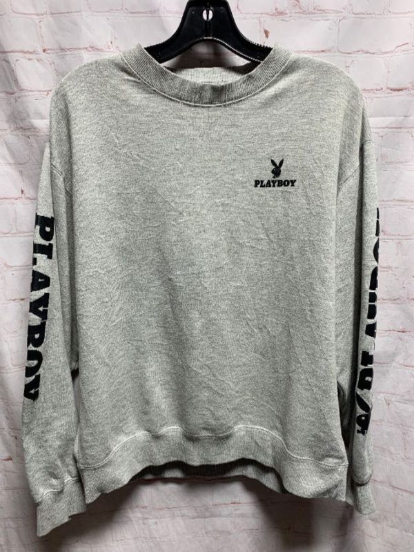 playboy sweatshirt logo on sleeves and embroidered patch on back