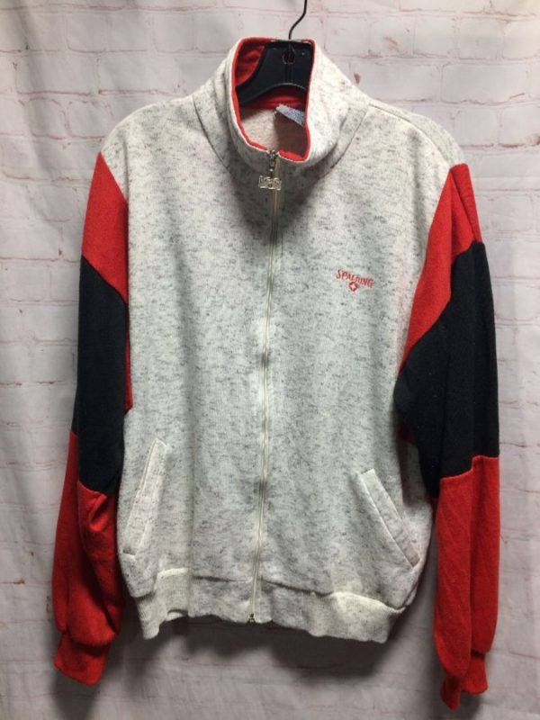 1990'S COLOR-BLOCK DESIGN ZIP-UP JACKET W/ HEATHERED MAIN BODY