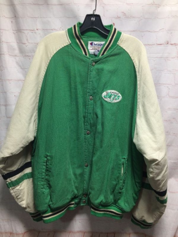 VINTAGE NEW YORK JETS COTTON & LINEN VARSITY STYLE JACKET
