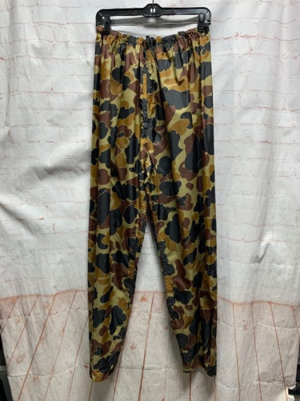 CABELAS NYLON CAMO PRINT PANTS W/ DRAW STRING & SNAP-UP BOTTOMS