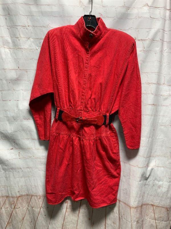 1980'S TWILL DENIM DRESS W/ LONG SLEEVE & BUCKLED BELT