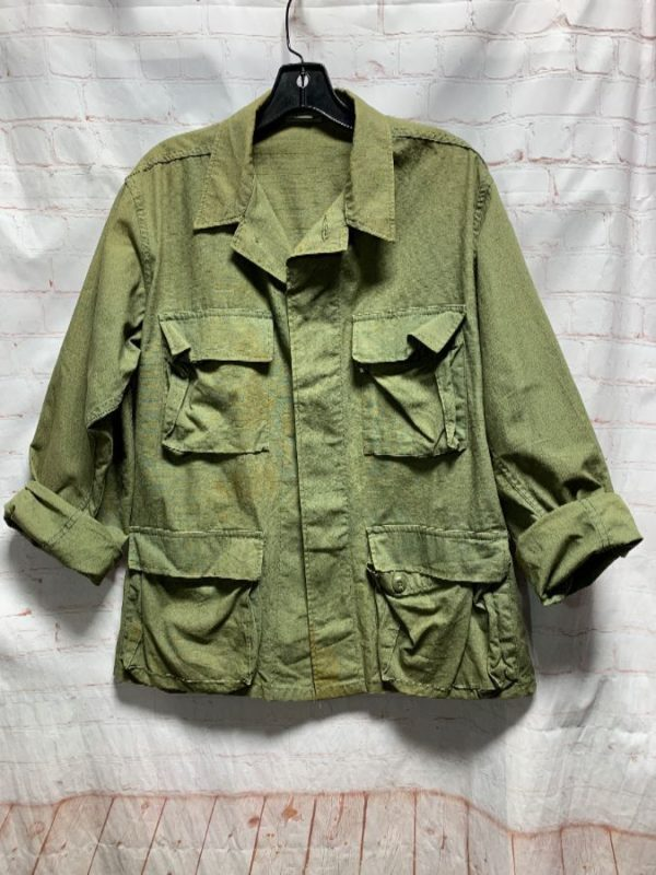 MILITARY JACKET W/ SOLID COLOR & MULTIPLE FRONT POCKETS