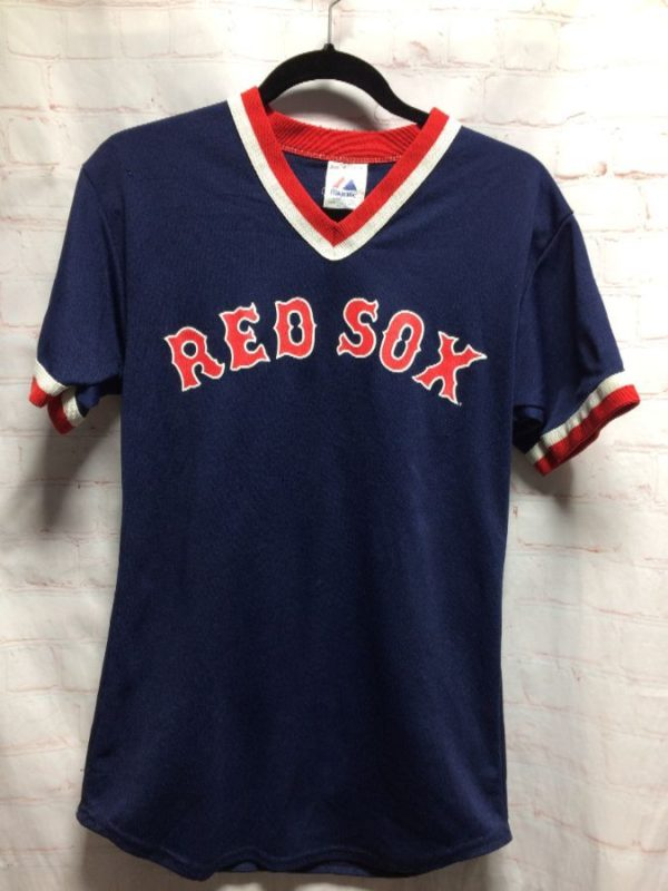 product details: BASEBALL JERSEY RED SOX #29 STRIPED V-NECK photo