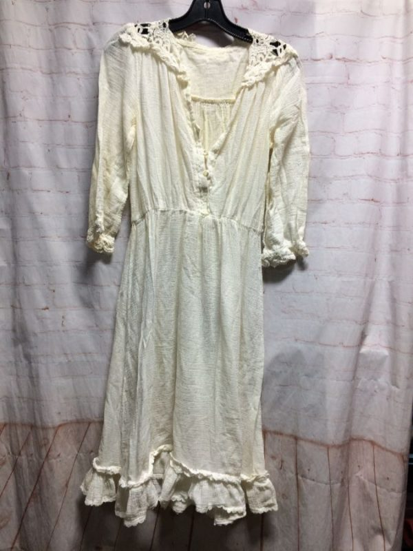 GAUZE PURITAN DRESS W/ RUFFLE & CROCHET LACE TRIM
