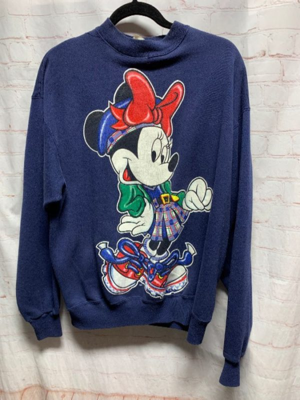 CREW-NECK PULLOVER SWEATSHIRT W/ MINNIE MOUSE GRAPHIC DESIGN