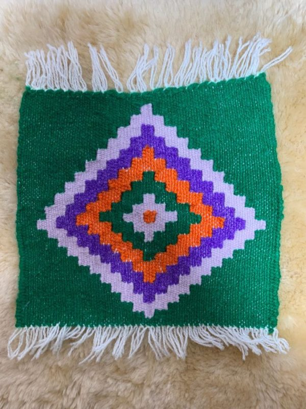 MINI WOVEN SQUARE SARAPE STYLE DECORATIVE RUG
