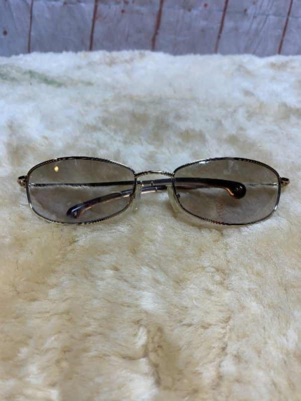 product details: SUNGLASSES W/ SHEER OMBRE LENSES & THIN OVAL WIRE FRAMES photo