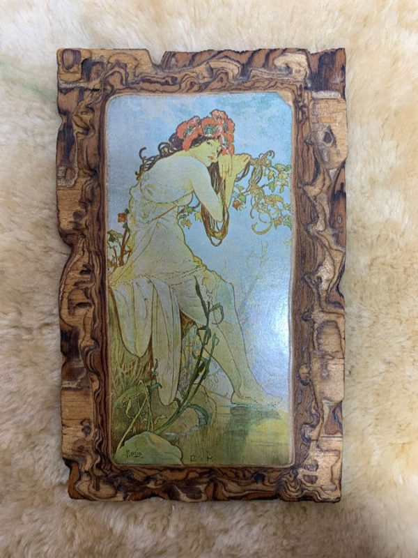 ALPHONSE MUCHA ART NOUVEAU PRINT MOUNTED ON HAND CARVED WOOD