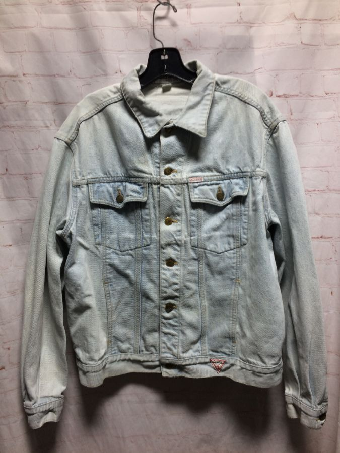 d98e69c3644e CUSTOMIZED LIGHT ACID WASHED 80'S DENIM JACKET W/ FRONT BUTTON-UP POCKETS