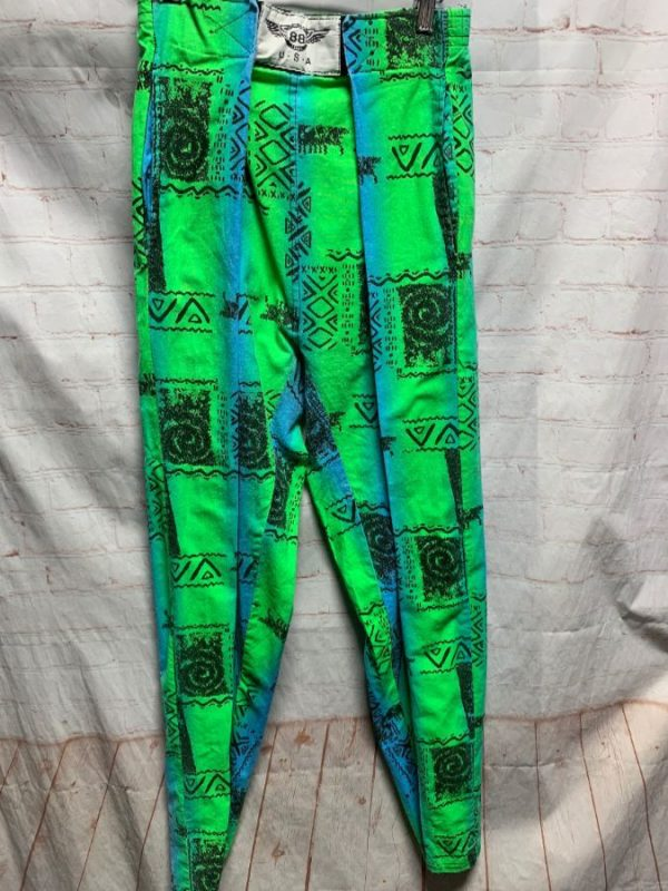 1980'S NEON – COLORED PRINTED COTTON HAMMER PANTS