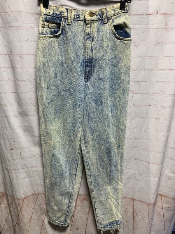 product details: HIGH WAIST ACID WASHED DENIM JEANS W/ TAPERED LEG ANKLE ZIPPERS photo