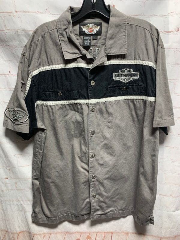 product details: COTTON HARLEY DAVIDSON SHIRT W/ EMBROIDERED DESIGNS photo