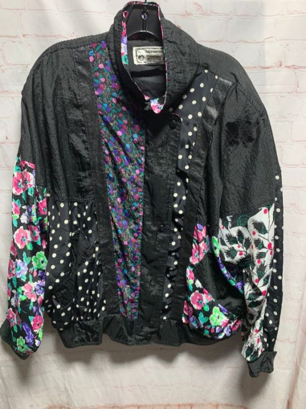 product details: 1980'S WINDBREAKER W/ POLKA DOT & FLORAL PRINTS IN COLOR-BLOCK DESIGN photo