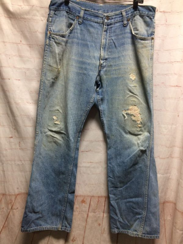 product details: DENIM JEANS DISTRESSED W/ HOLES & PATCHES INSIDE photo