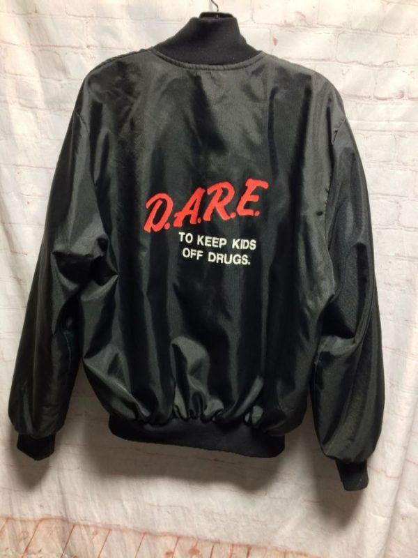 DARE TO KEEP KIDS OFF DRUGS BOMBER JACKET W/ CLASSIC PRINT