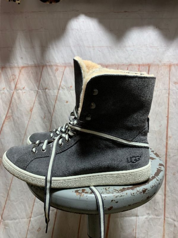 product details: UGG BRAND MID CALF LACE-UP SNEAKER STYLE BOOTIES W/ SHERPA LINING photo
