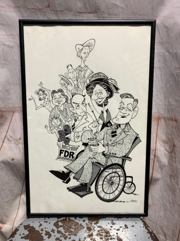 FRAMED FDR CARTOON ART PRINT SIGNED BY YORK