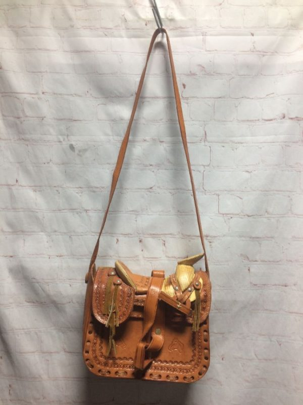 PURSE W/ WOODEN HORSE SADDLE & ENGRAVED