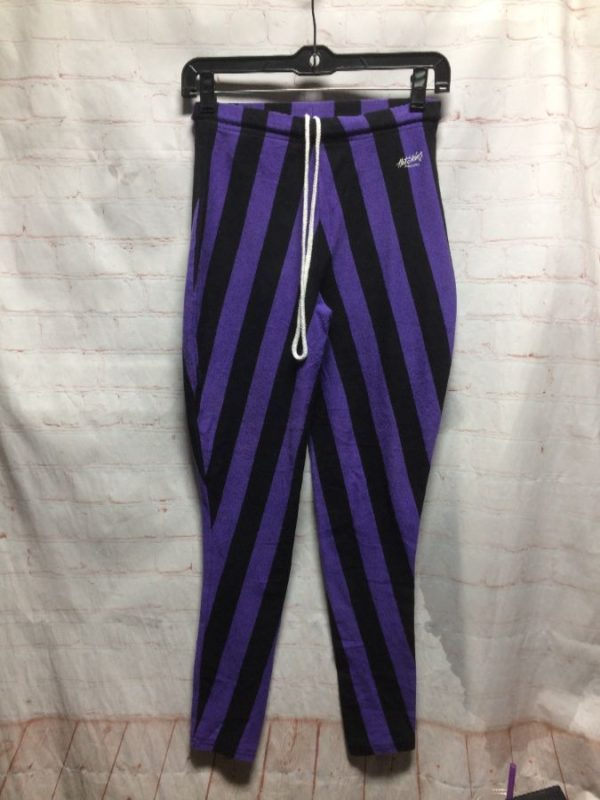 COTTON STRETCH PANTS W/ VERTICAL STRIPES & DRAWSTRING WAIST