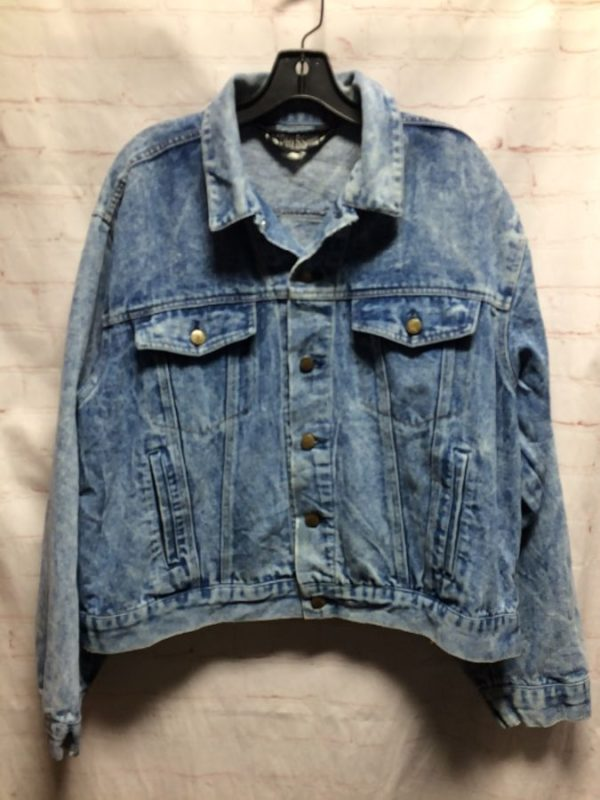 1980'S-90'S DENIM JEAN JACKET W/ CLASSIC CUT SOFT PERFECT FIT & SIDE POCKETS