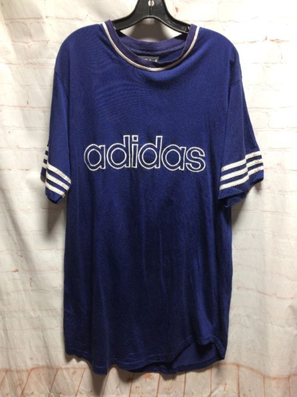 CLASSIC ADIDAS SPORTS JERSEY W/  EMBROIDERED FRONT LOGO & STRIPED SLEEVES