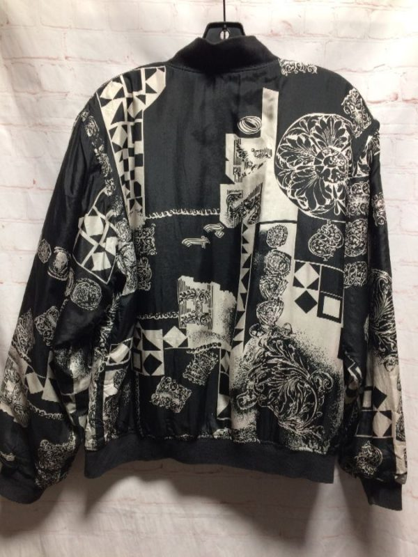 THIN SILK BOMBER JACKET W/ ABSTRACT GEOMETRIC SHAPES & SOLID BUTTONS