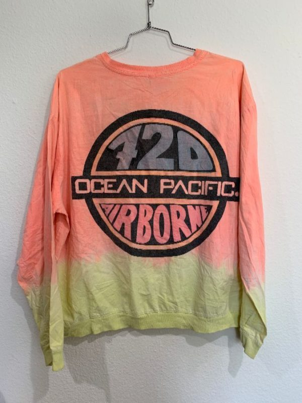 1980'S COTTON SWEATSHIRT GRADIENT PASTEL FADE W/ OCEAN PACIFIC BACK PRINT