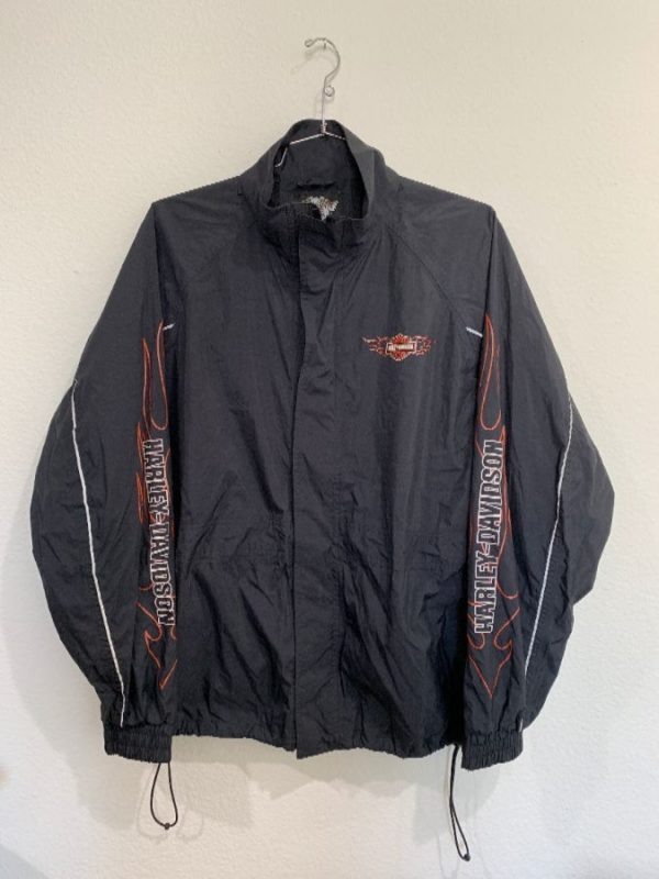 product details: FULLY LINED ZIP-UP HARLEY DAVIDSON NYLON WINDBREAKER W/ FLAMES UP SLEEVES photo