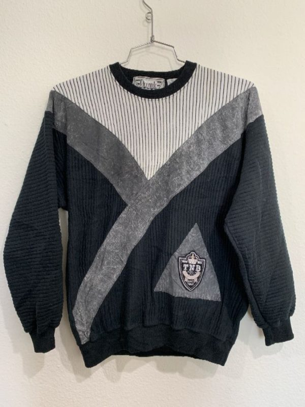 1980'S-90'S PULLOVER SWEATSHIRT RIB-STITCHED COLOR-BLOCK PATCHWORK